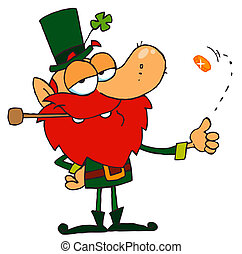 Leprechaun Playing with a Gold Coin - Leprechaun Smoking A...