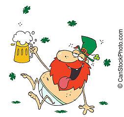 Drunk Leprechaun In His Underwear