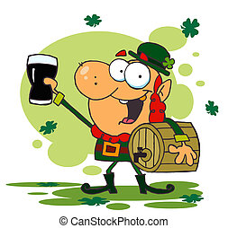 Leprechaun with a Glass of Beer - Leprechaun Toasting...