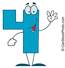 Funny Cartoon Numbers-4  - Friendly Blue Number 4 Four Guy
