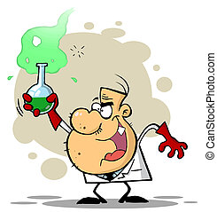 Scientist Holding A Green Potion - Mad Scientist Grinning...