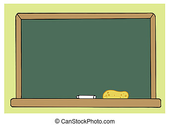 Blank Green Class Room Chalkboard Cartoon Character
