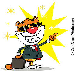 Business Tiger Pointing And Smiling