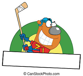 Bear Playing Ice Hockey - Sporty Ice Hockey Bear Swinging A...
