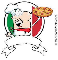 Logo-Proud Chef Holds Up Pizza