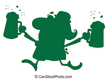 Green Silhouetted Female Leprechaun