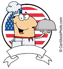 Cartoon Male Chef Serving Food In A Sliver Platter In Front...