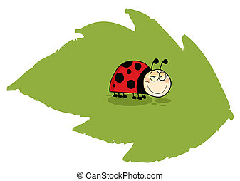 Ladybug On Green Leaf - Mascot Cartoon Character Ladybug On...