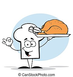 Chef Hat Guy Serving a Cooked Turke - Chefs Hat Character...