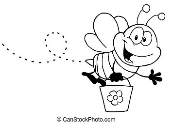 Black And White Honey Bee Flying With A Bucket And Waving