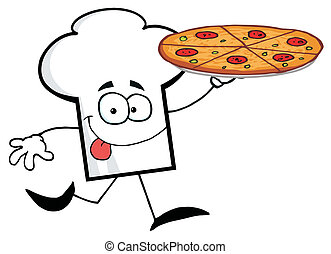 Chef Hat Guy Carrying A Pizza - Cartoon Chefs Hat Character...