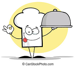Chef Hat Guy Serving A Platter - Cartoon Chefs Hat Character...