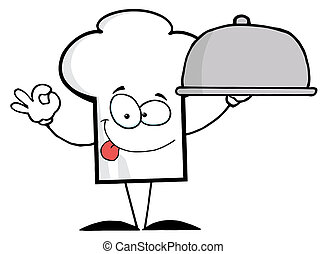 Chef Hat Guy Holding A Platter - Cartoon Chefs Hat Character...