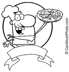 Proud Chef Holds Up Pizza - Outlined Male Chef Holding Up A...
