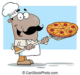 Hispanic Chef Carrying A Pizza Pie