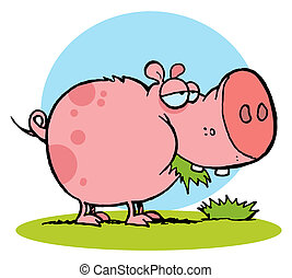 Pink Pig Snacking On Grass - Cartoon Character Pig Chewing...