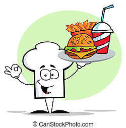 Chef Hat Guy Serving Fast Food - Cartoon Chefs Hat Character...