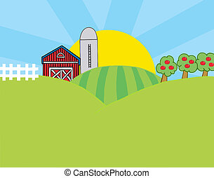 Country Farm Scene - The Sun Rising Behind A Silo, Barn,...