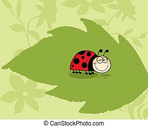 Ladybug On Green Leaf In The Garden - Mascot Cartoon...