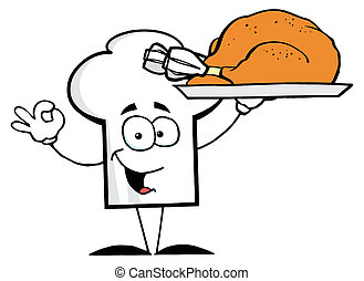 Chef Hat Guy Serving a Turkey - Cartoon Chefs Hat Character...