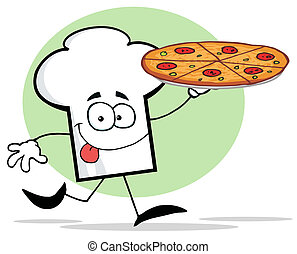 Chef Hat Guy Holding A Pizza - Chefs Hat Character Holding...