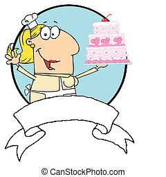 Blond Woman Holding Up A Cake