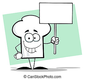 Chef Hat Guy Holding A Sign - Chefs Hat Character Holding A...