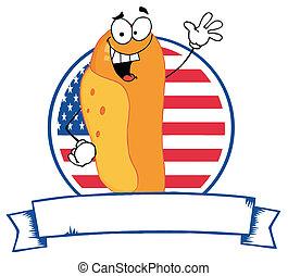 Cartoon Logo Mascot-Hot Dog - Waving Hot Dog Over An...