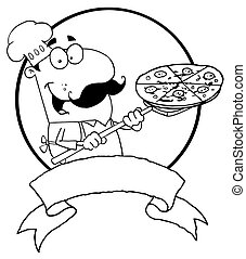 Outlined Male Pizzeria Chef Holding A Pizza On A Scooper...