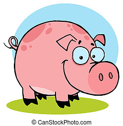 Happy Farm Pig With Spots Cartoon Character
