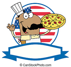 African American Pizza Chef - Male Pizzeria Chef Holding A...