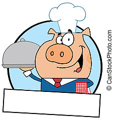 Pig Serving Food On A Platter - Cartoon Logo Mascot-Waiter...