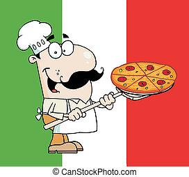 Chef Presenting His Pizza Pie - Happy Caucasian Chef...