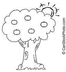 Sun Behind An Apple Tree - Coloring Page Outline Of The Sun...
