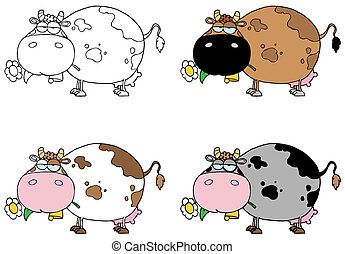Cows Different Color Set - Digital Collage Of Four Cows...