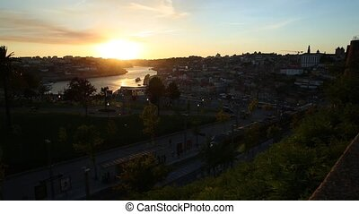 Douro River at sunset - Aerial panoramic view of Oporto...