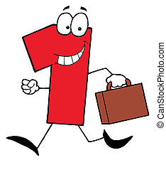 Business Number One - Red Number One Guy Carrying A...