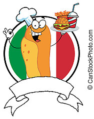 Hot Dog Chef Serving Fast Food - Cartoon Hot Dog Chef Holder...