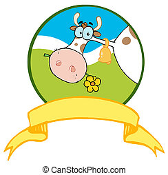 Cartoon Logo Mascot-Farm Cow - Dairy Farm Cow Eating A...