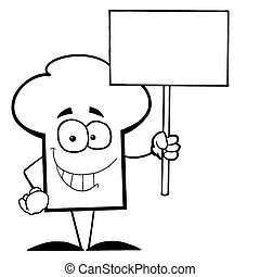 Chef Hat Guy Holding A Blank Sign - Cartoon Chefs Hat...