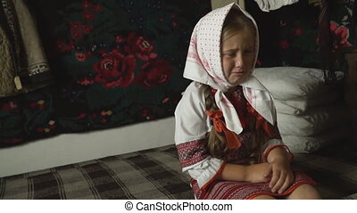 little girl is crying - little girl crying sitting in the...