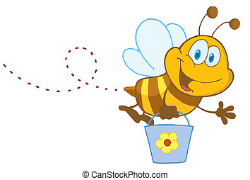 Cartoon Character Bee Flying Bucket - Happy Honey Bee Flying...