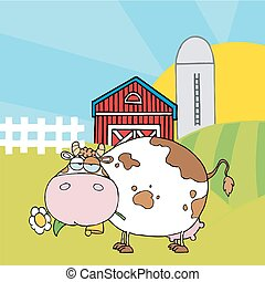 White Cow Eating A Daisy By A Silo