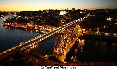 Douro River skyline at sunset - Aerial view of Oporto...