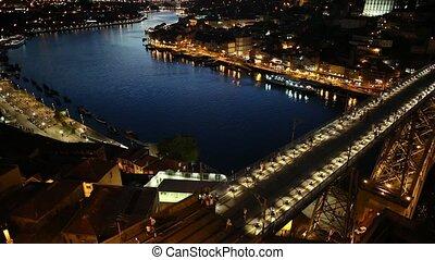 Porto sunset skyline - Panoramic aerial view of iron arch...