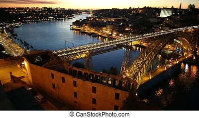 Oporto aerial by night - Aerial view of Dom Luis I on Douro...