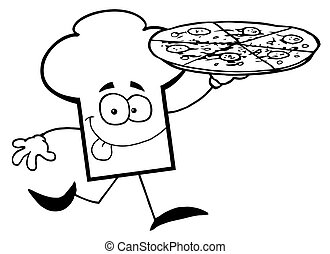 Chef Hat Guy Carrying A Pizza