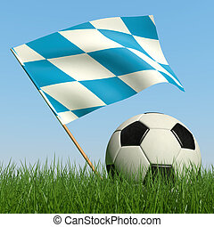 Soccer ball in the grass and flag of Bavaria. - Soccer ball...
