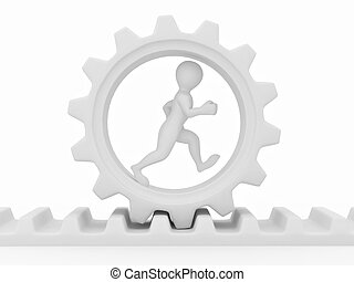 Men in gear on white isolated background 3d