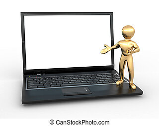 Man with laptop on white isolated background